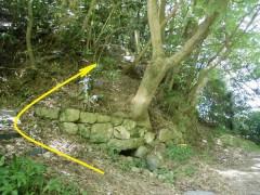 斜面の上の郡境石